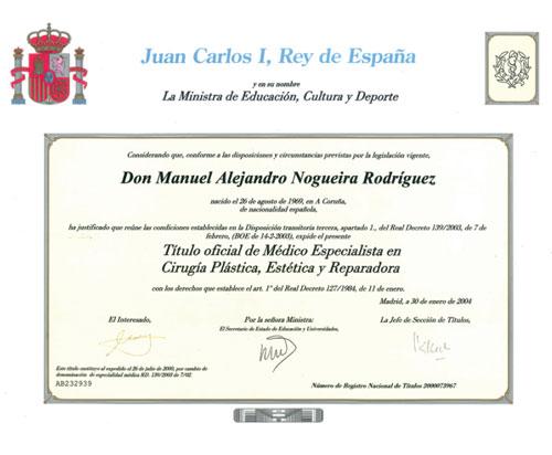 dr alejandro nogueira degree plastic surgeon